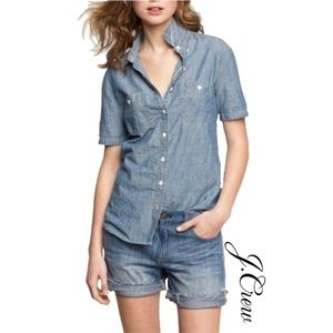 J.Crew Chambray Short Sleeves Button Down Shirt